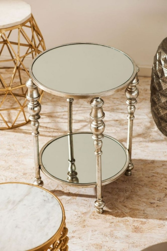 Marcia Silver Mirrored Side Table