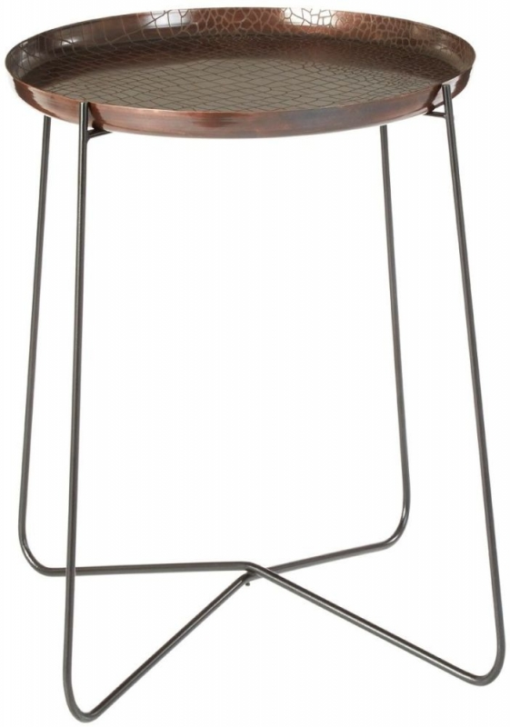 Hege Tall Side Table - Copper and Black Metal