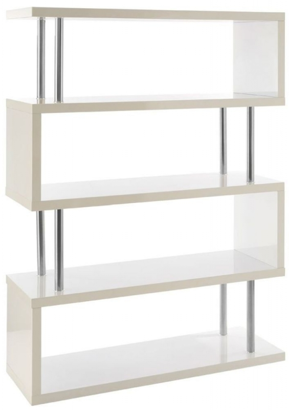 Contour 4 Tier White Gloss Wide Shelf Unit