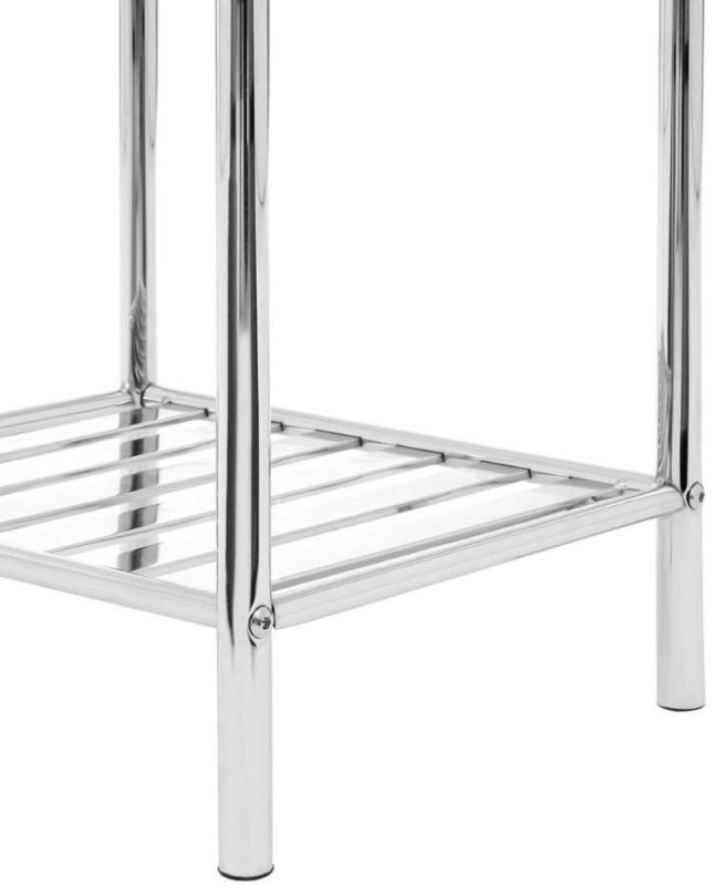 Silver 5 Tier Chrome Shelf Unit with Basket