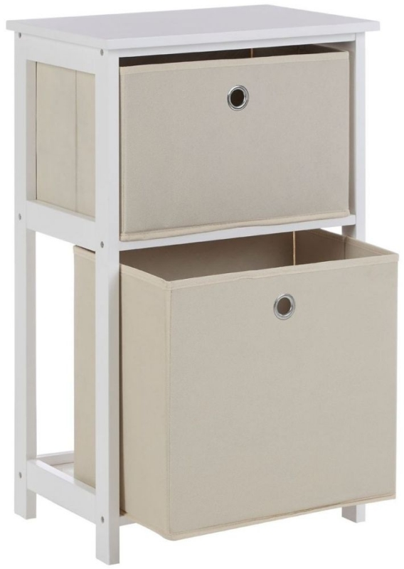 Lindo Natural Fabric 2 Drawer Cabinet