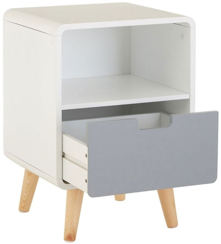 Milo Bedside Cabinet - White and Grey