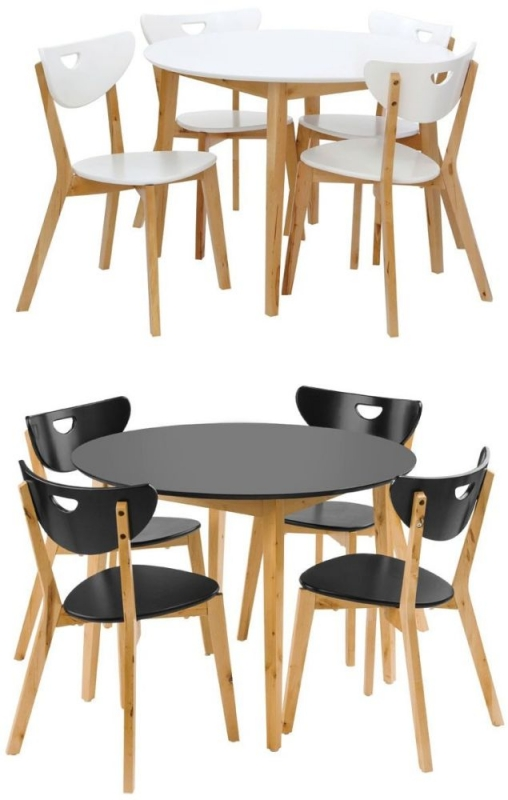 Fiesta Black Round Dining Set with 4 Chairs