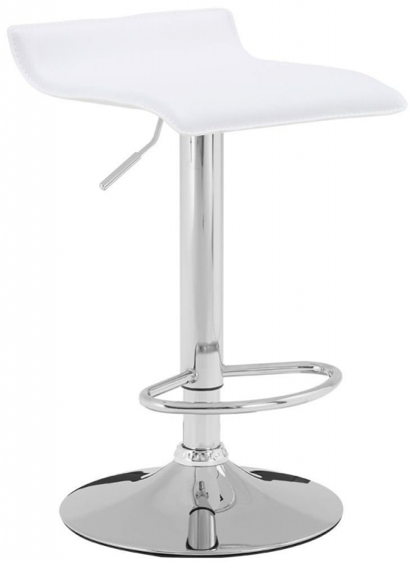 Carter Bar Stool (Pair) - Chrome and White Faux Leather