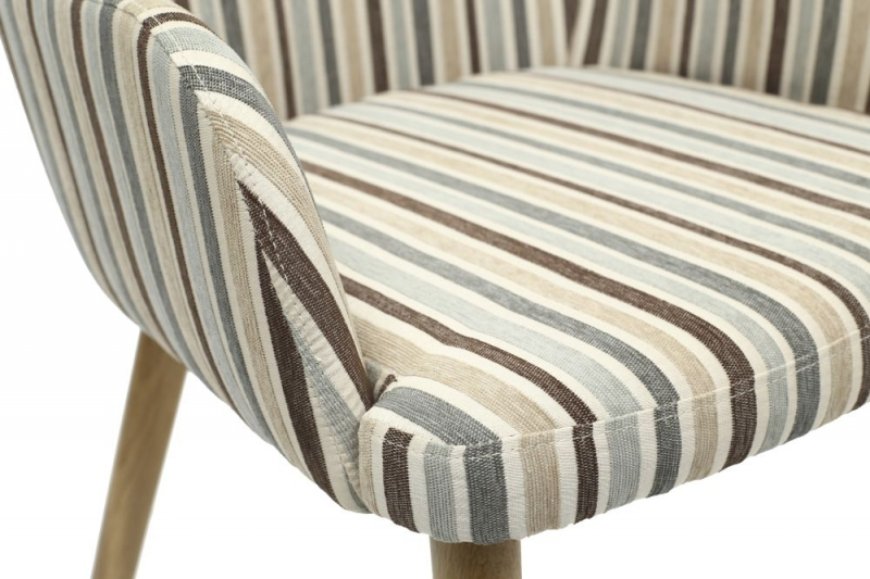 Shankar Sidcup Chenille Stripe Duck Egg Blue Fabric Dining Chair (Pair)