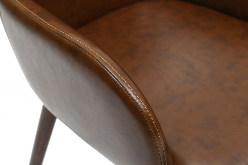 Shankar Sidcup Antique Brown Leather Match Accent Dining Chair (pair)