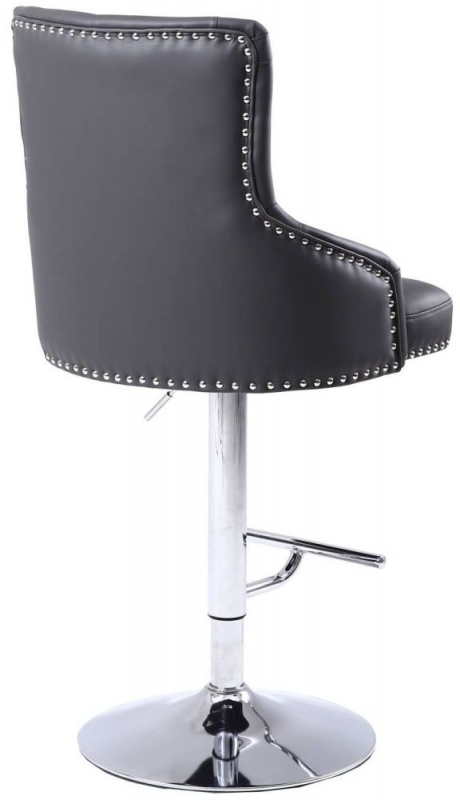 Shankar Rocco Graphite Grey Leather Match Tufted Studded Bar Stool
