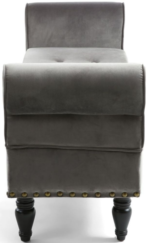 Shankar Downtown Grey Brushed Velvet Storage Ottoman