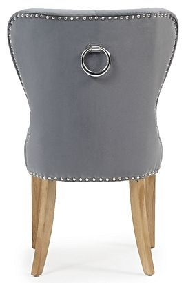 Mark Harris Kalim Dining Chairs (Pair) - Grey Plush Fabric and Oak