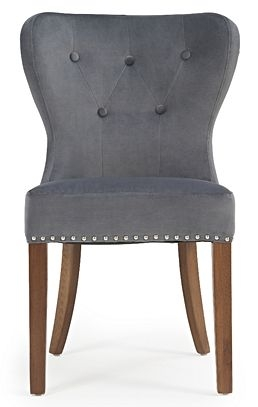 Mark Harris Kalim Grey Plush and Dark Solid Oak Dining Chairs (Pairs)