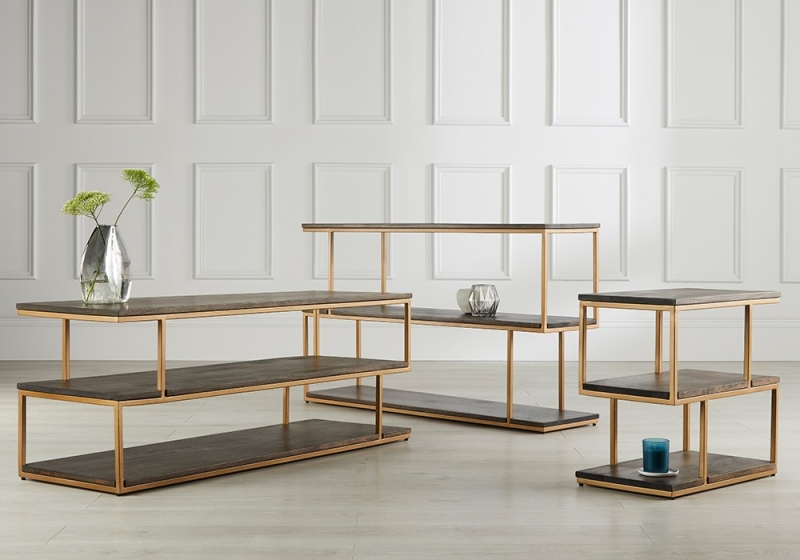 Content by Terence Conran Balance Wooden and Brass Low Shelving Unit