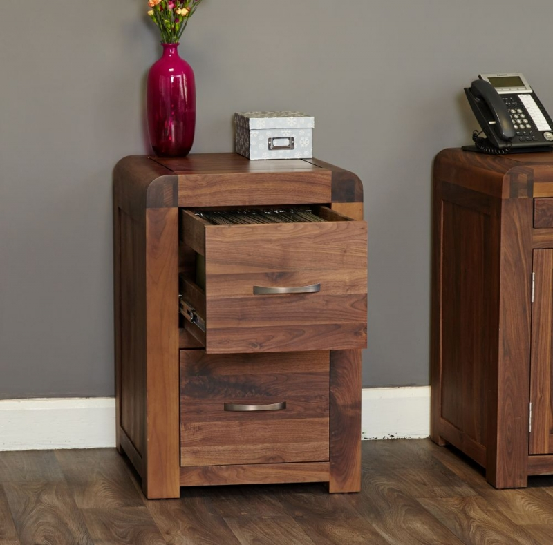 Baumhaus Shiro Walnut 2 Drawer Filing Cabinet