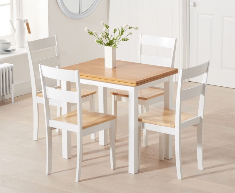 Mark Harris Hove Oak and White Rectangular Extending Dining Set with 2 Chichester Chairs