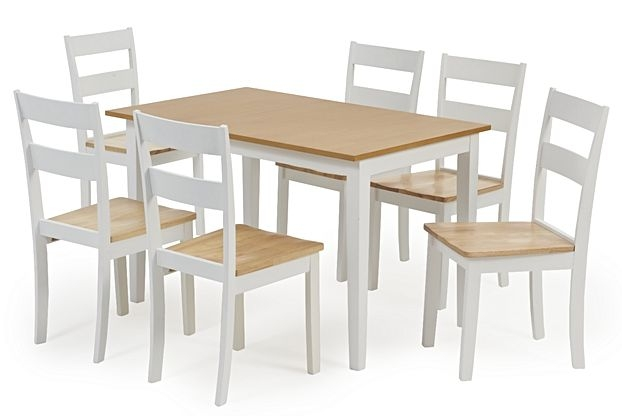 Mark Harris Mara Oak and White Extending Dining Table and 2 Chichester Chairs