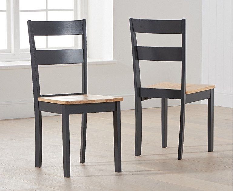 Mark Harris Mara Oak and Dark Grey Rectangular Extending Dining Set with 2 Chichester Chairs