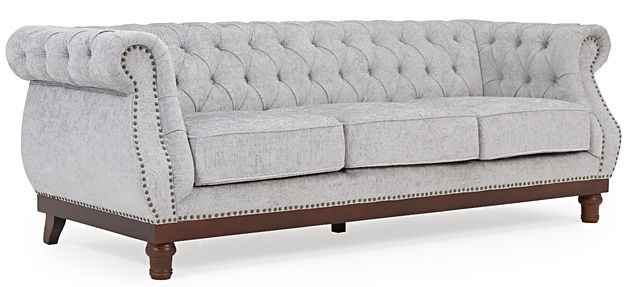 Mark Harris Highgrove Grey Plush Fabric 3 Seater Sofa