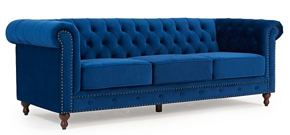 Mark Harris Montrose Blue Plush Fabric 3 Seater Sofa