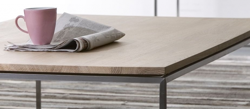 Clearance Half Price - Thin Oak Stainless Steel Frame Small Coffee Table - New - A197