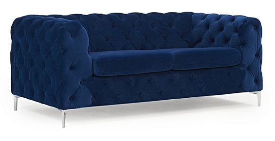 Mark Harris Alegra Blue Plush Fabric 2 Seater Sofa