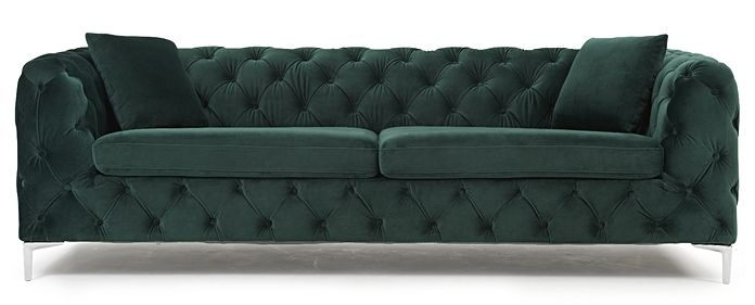 Mark Harris Alegra Green Plush Fabric 3 Seater Sofa