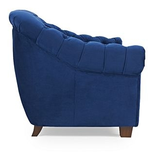 Mark Harris Liv Chesterfield Blue Plush Fabric 2 Seater Sofa