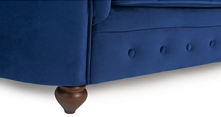 Mark Harris Casey Chesterfield Blue Plush Fabric 2 Seater Sofa