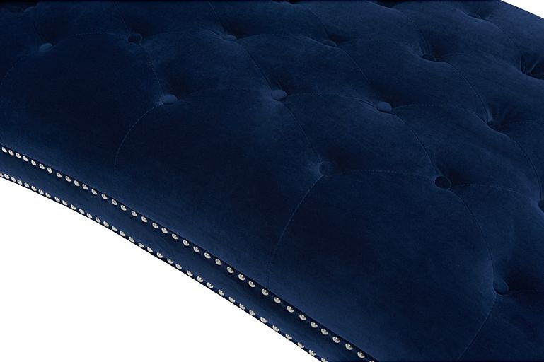 Mark Harris New England Blue Velvet Fabric Chaise Longue