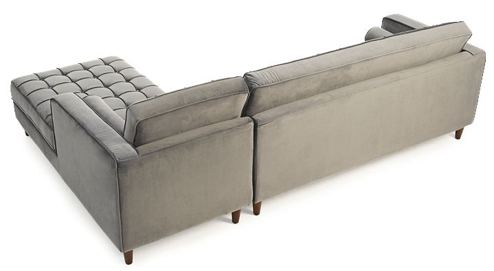 Mark Harris Anneliese Grey Velvet Right Facing Chaise Sofa