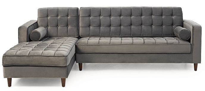 Mark Harris Anneliese Grey Velvet Left Facing Chaise Sofa