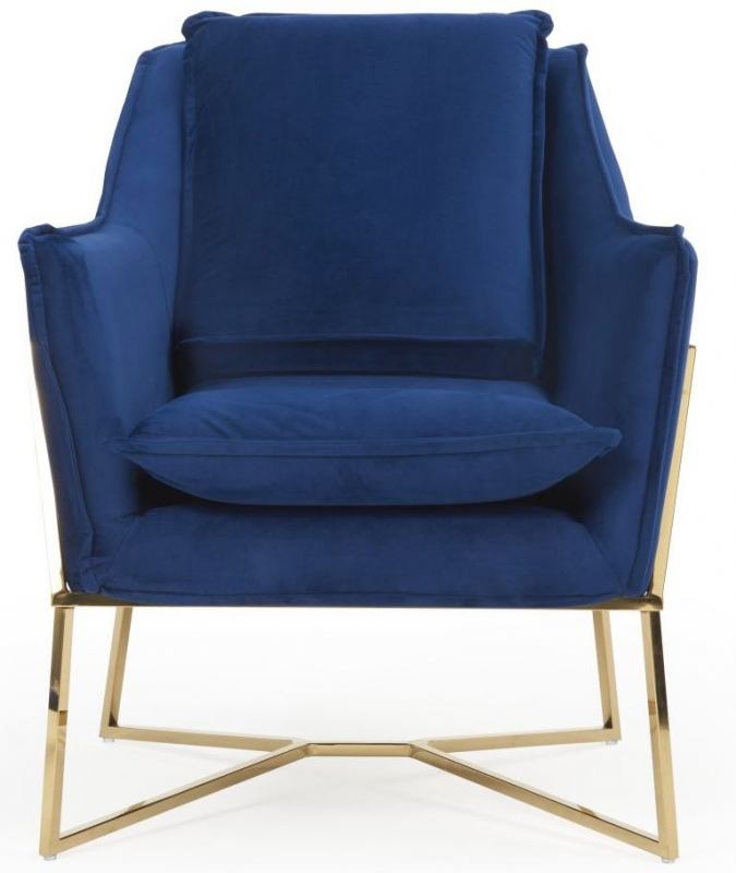 Mark Harris Larna Blue Velvet Accent Chair