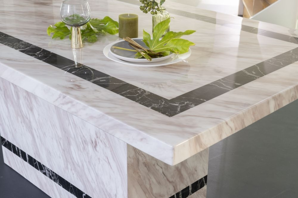 Urban Deco Rome Cream Marble 180cm Rectangular Dining Table