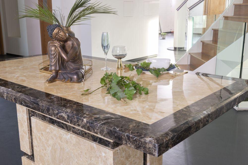 Urban Deco Venice Cream Marble 180cm Rectangular Dining Table