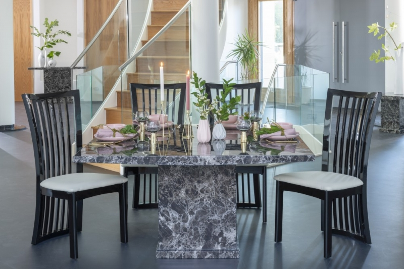 Urban Deco Turin Black Marble 140cm Square Dining Table