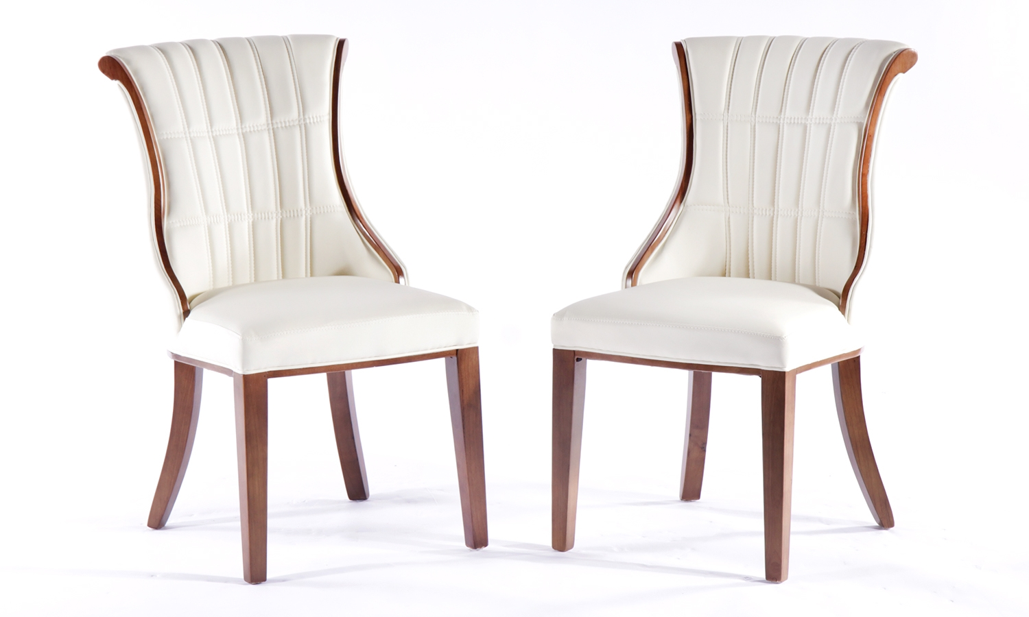 Urban Deco Seville Beige Faux Leather Dining Chair (Pair)