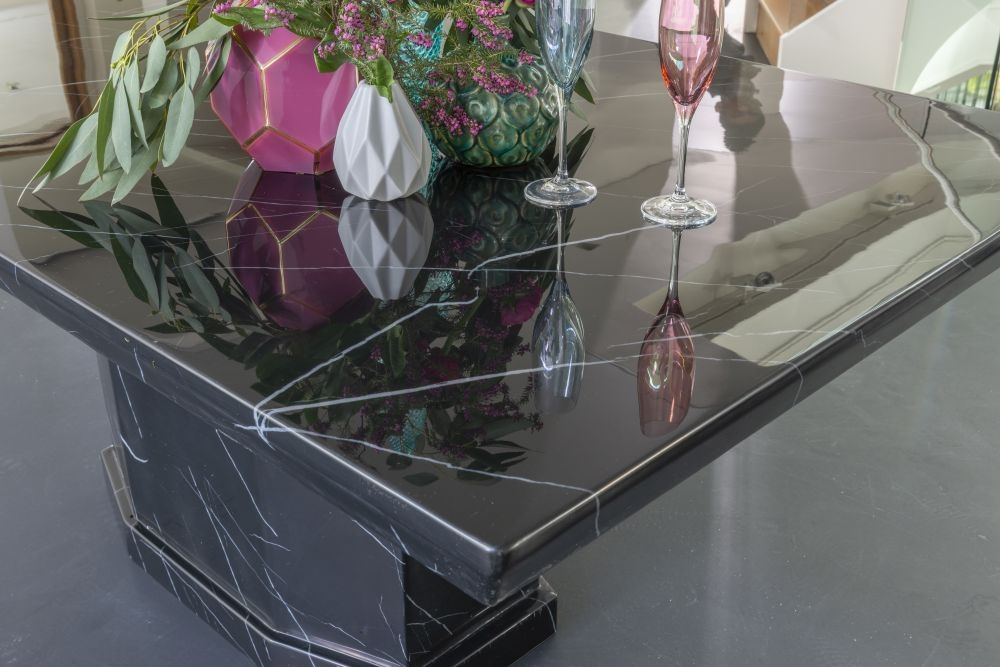 Urban Deco Naples 160cm Black Marble Dining Table