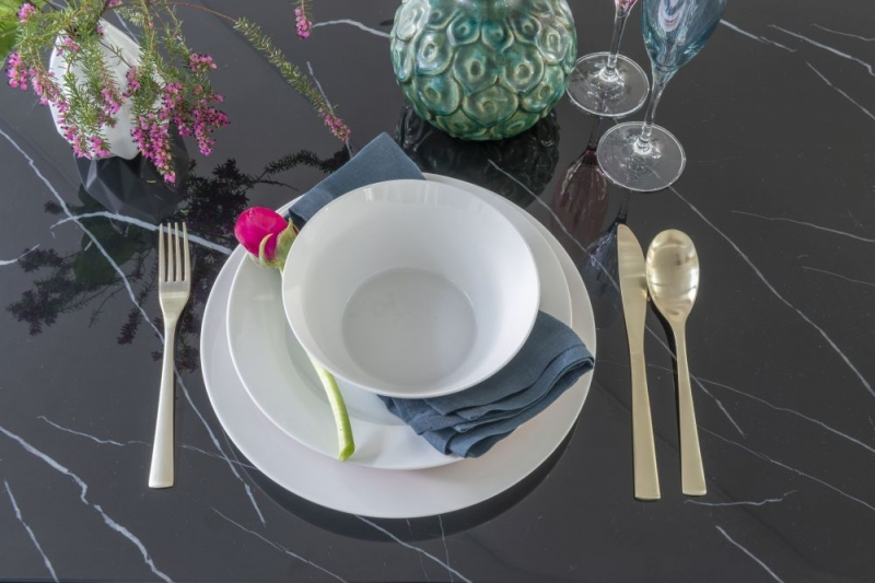 Urban Deco Naples Black Marble 160cm Rectangular Dining Table