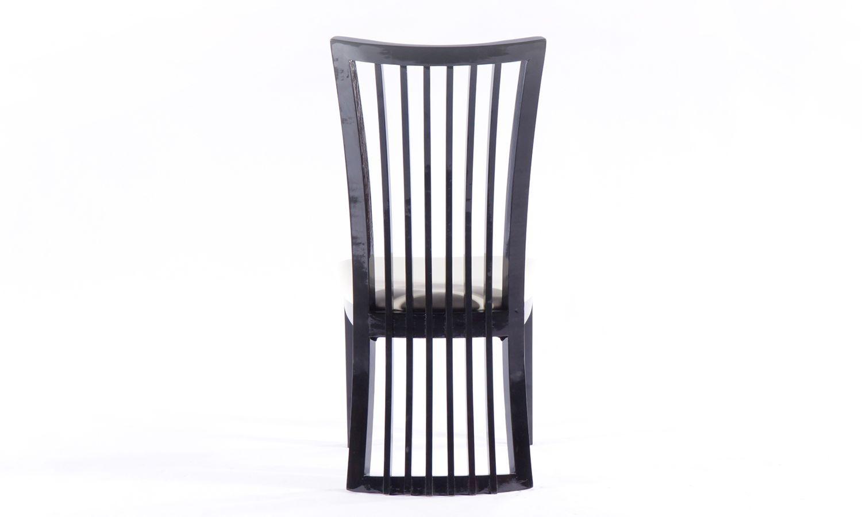 Urban Deco Athena Black High Gloss Slatted Dining Chair (Pair)