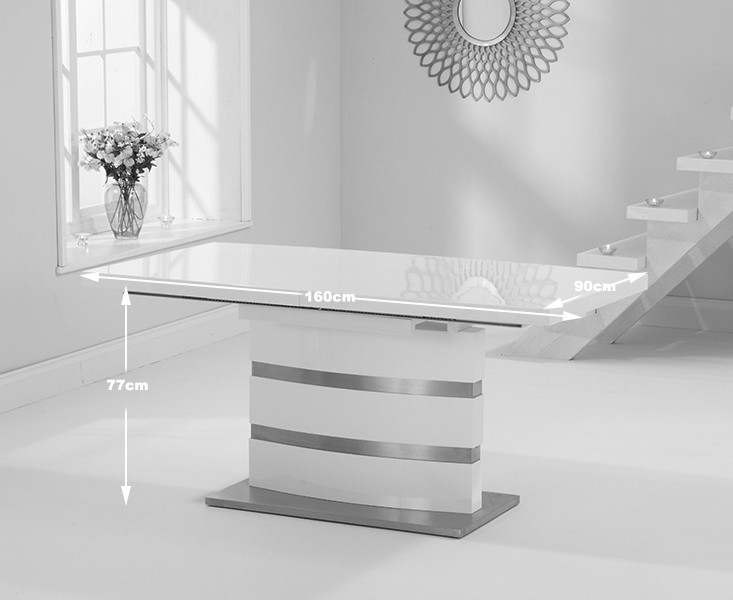 Mark Harris Beaconsfield White High Gloss Extending Dining Table
