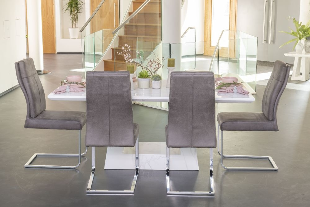 Urban Deco Milan 180cm White Marble Rectangular Dining Set with 6 Donatella Grey Chairs
