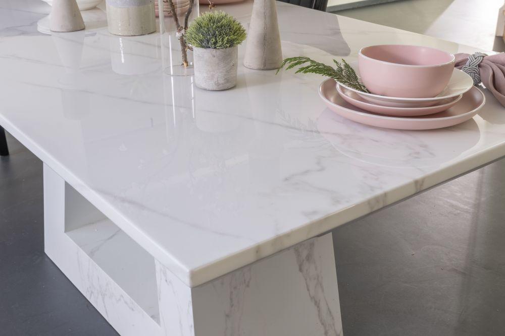 Urban Deco Milan White Marble 180cm Rectangular Dining Set with Donatella Grey Chairs