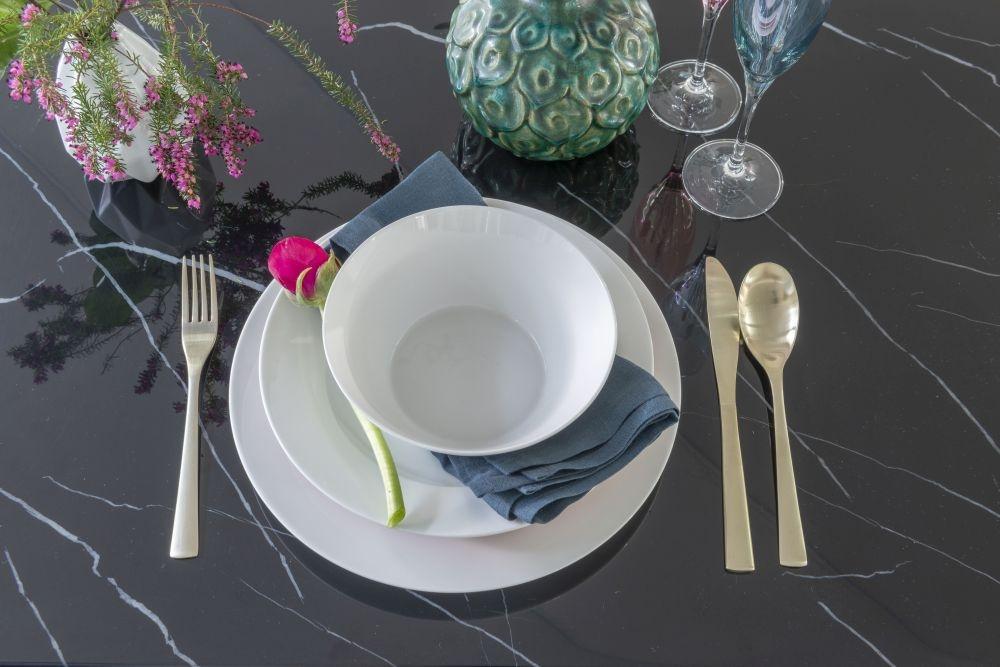 Urban Deco Naples Black Marble 180cm Rectangular Dining Set with Black Velvet Knockerback Chairs