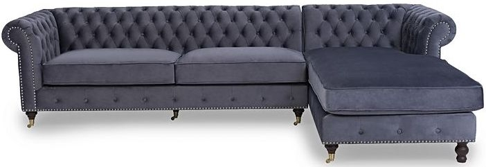 Mark Harris Fiona Chesterfield Grey Velvet Right Facing Corner Chaise Sofa