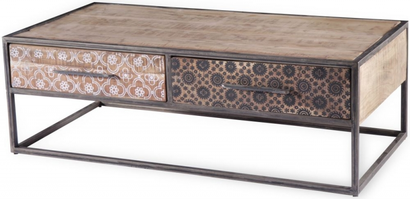 Century Industrial Printed 2 Drawer Coffee Table