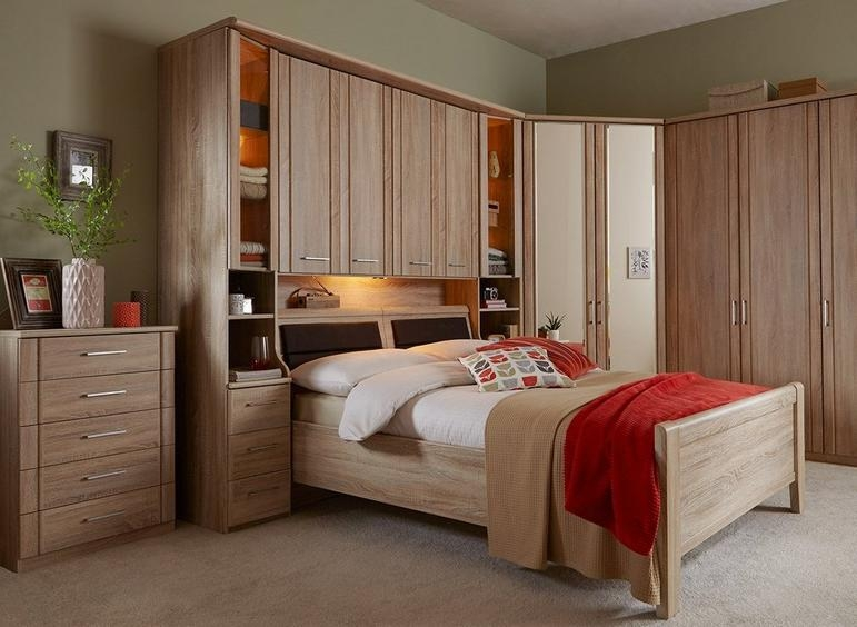 Wiemann Luxor 3+4 Overbed Unit with 33cm Occasional Element and 180cm Bed in Rustic Oak - W 255