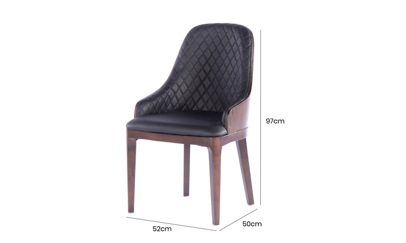 6 x Urban Deco Madrid Black Faux Leather Dining Chair