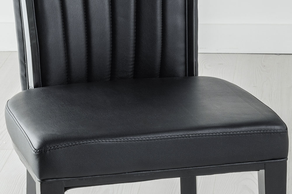 Set of 6 Cadiz Black Faux Leather Dining Chair