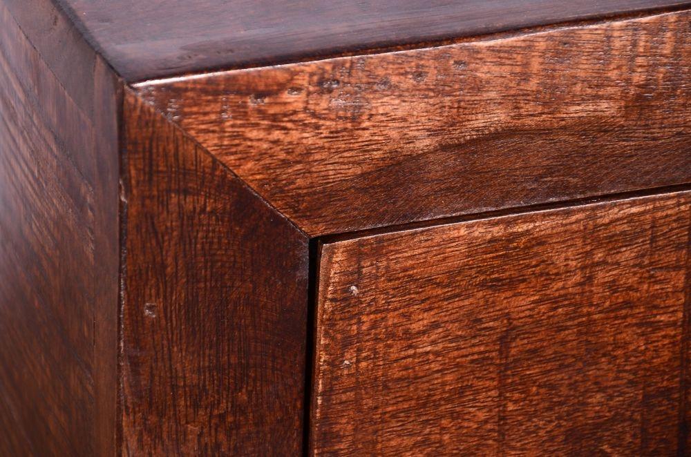 Urban Deco Dakota Dark Mango Distressed 1 Door 1 Drawer Wine Cabinet