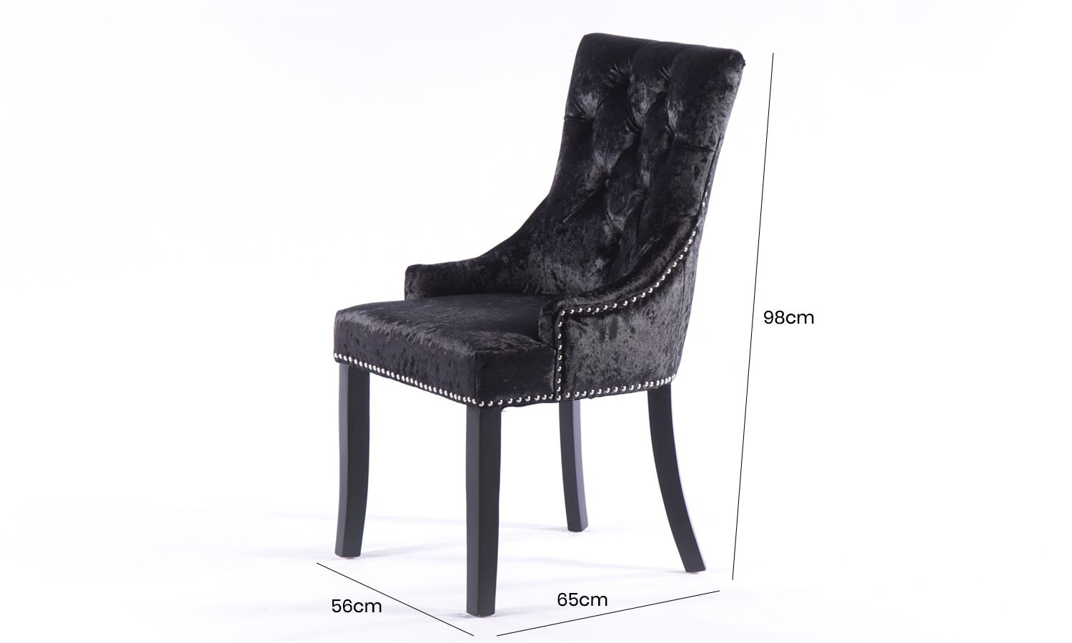 4 x Black Crushed Velvet Knockerback Dining Chair