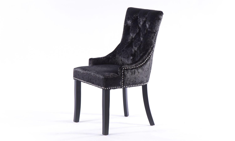 6 x Black Crushed Velvet Knockerback Dining Chair