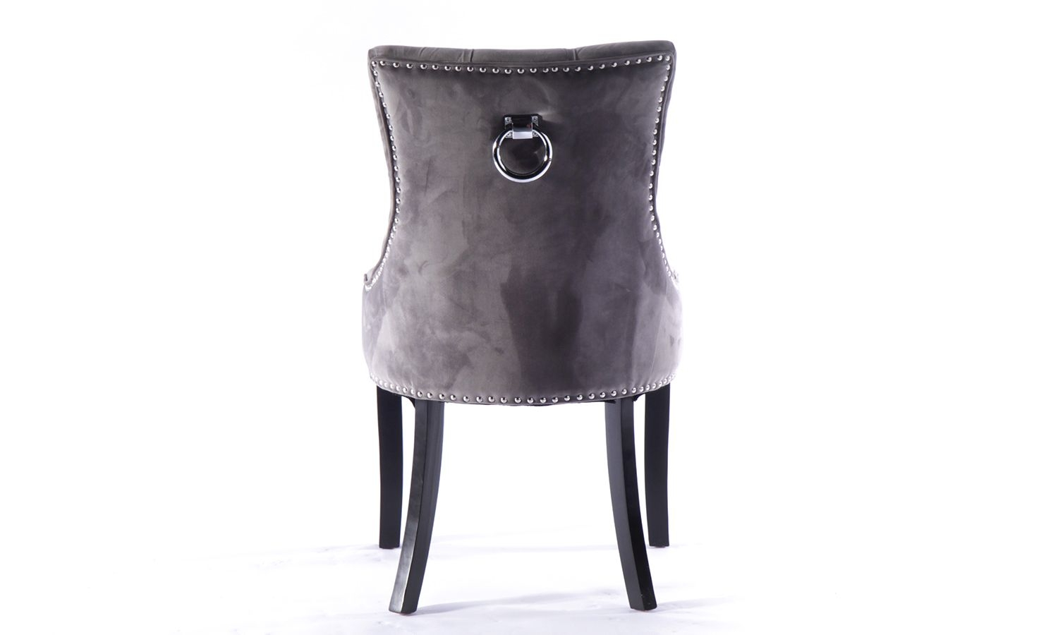 4 x Grey Velvet Knockerback Dining Chair